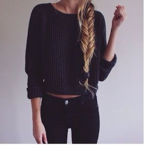 Brandy Melville | Black | Knit | Cropped | Sweater